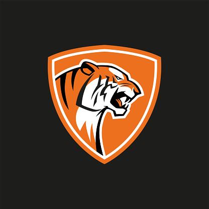 tiger shield sport vector emblem logo sign on black background