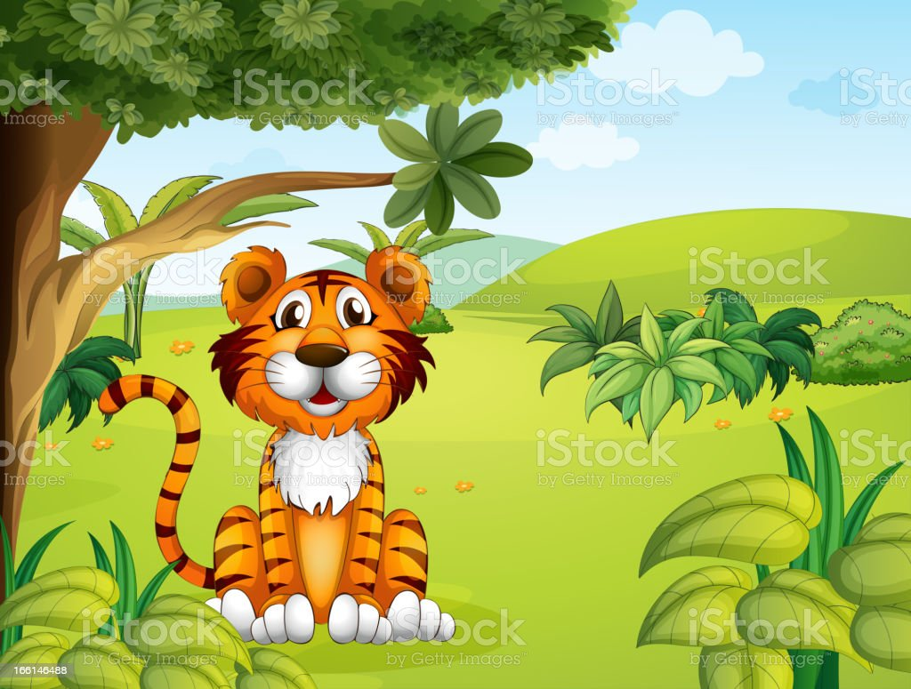 Tiger sitting near the tree royalty-free tiger sitting near the tree stock vector art & more images of animal