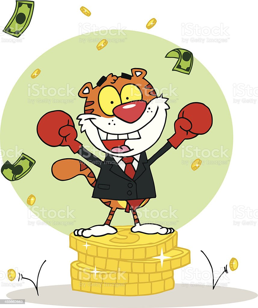 Tiger Sitting On A Big Coins With Background royalty-free stock vector art