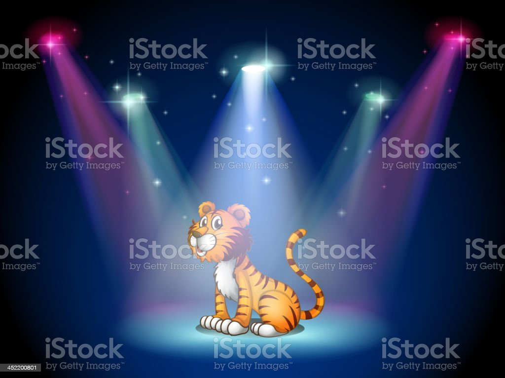 tiger sitting on the stage with spotlights royalty-free stock vector art