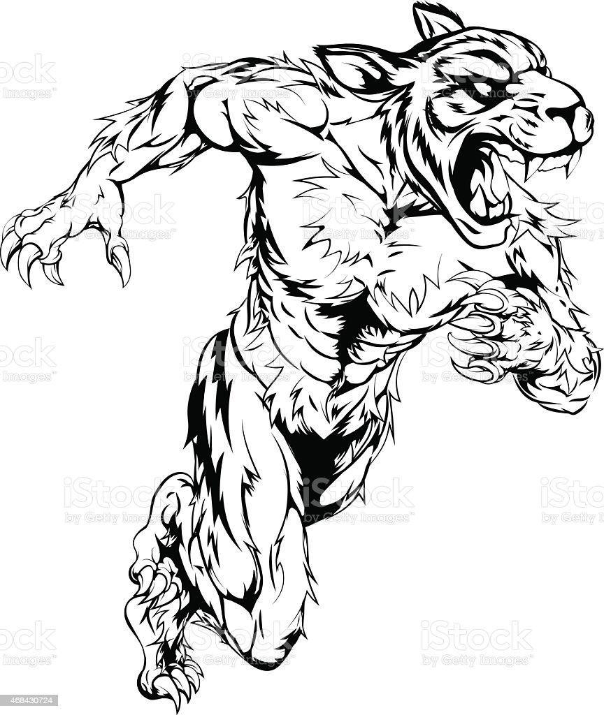 Tiger sports mascot running vector art illustration