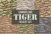 Tiger stripe Camouflage seamless patterns