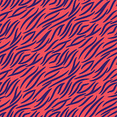 Tiger stripes seamless vector pattern pink and purple background print.