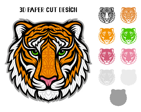 3D Tiger. Symbol 2022 New Year. Vector layered template for laser and paper cutting.