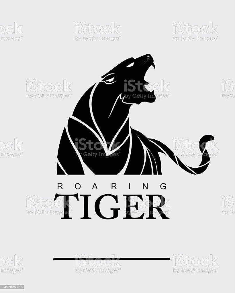 Tiger. Tiger with label. vector art illustration