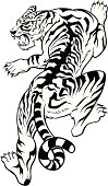 black and white illustration of a tiger