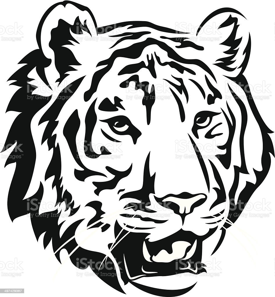 royalty free black and white tiger face clip art clip art vector rh istockphoto com  tiger face clip art free
