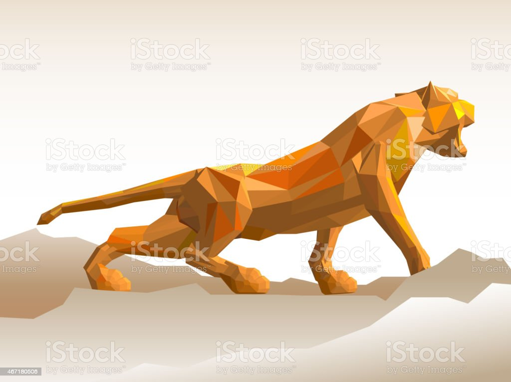 tiger vector illustration. polygonal animal series