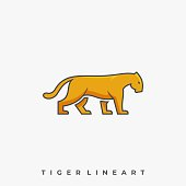 Tiger Walking Illustration Vector Template. Suitable for Creative Industry, Multimedia, entertainment, Educations, Shop, and any related business.