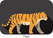 Tiger walking side flat 3D icon design