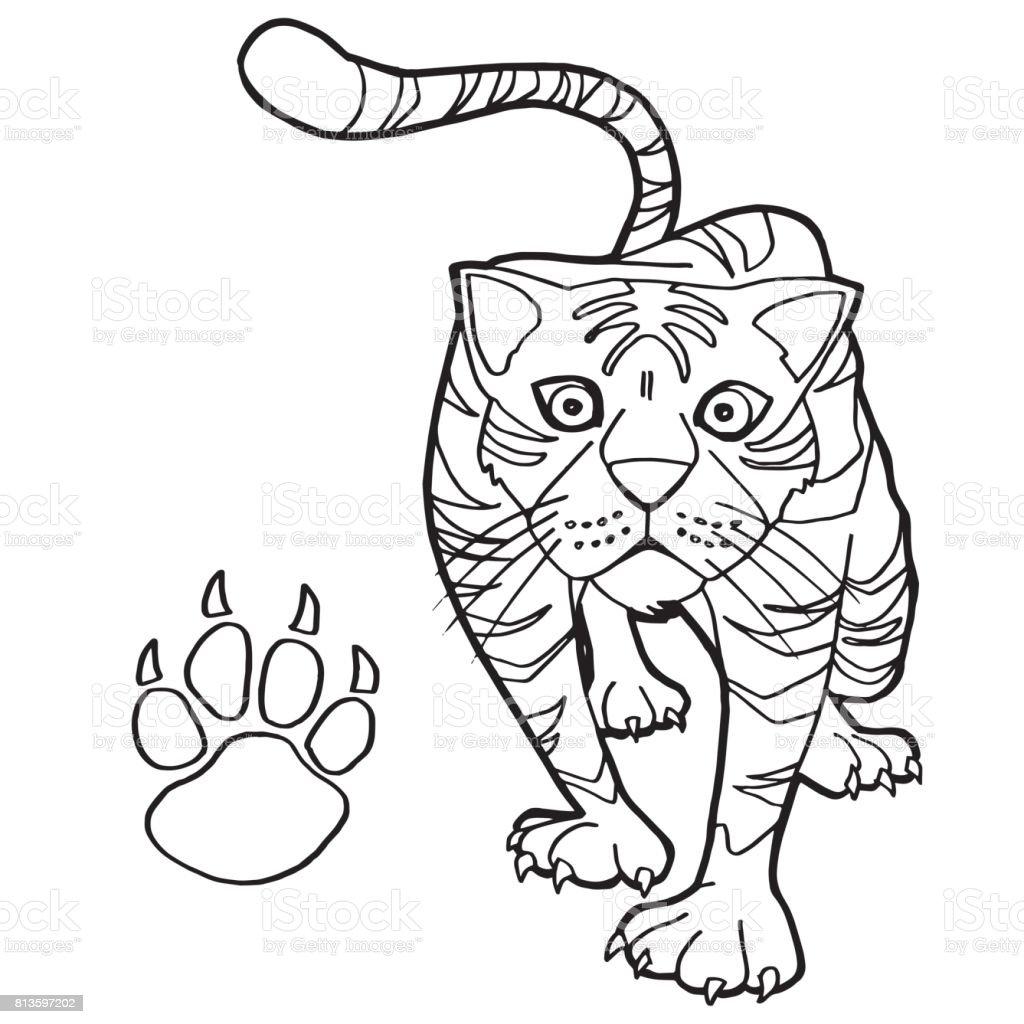 Ilustración de Tigre Con Pata Vector Impresión De Página Para ...