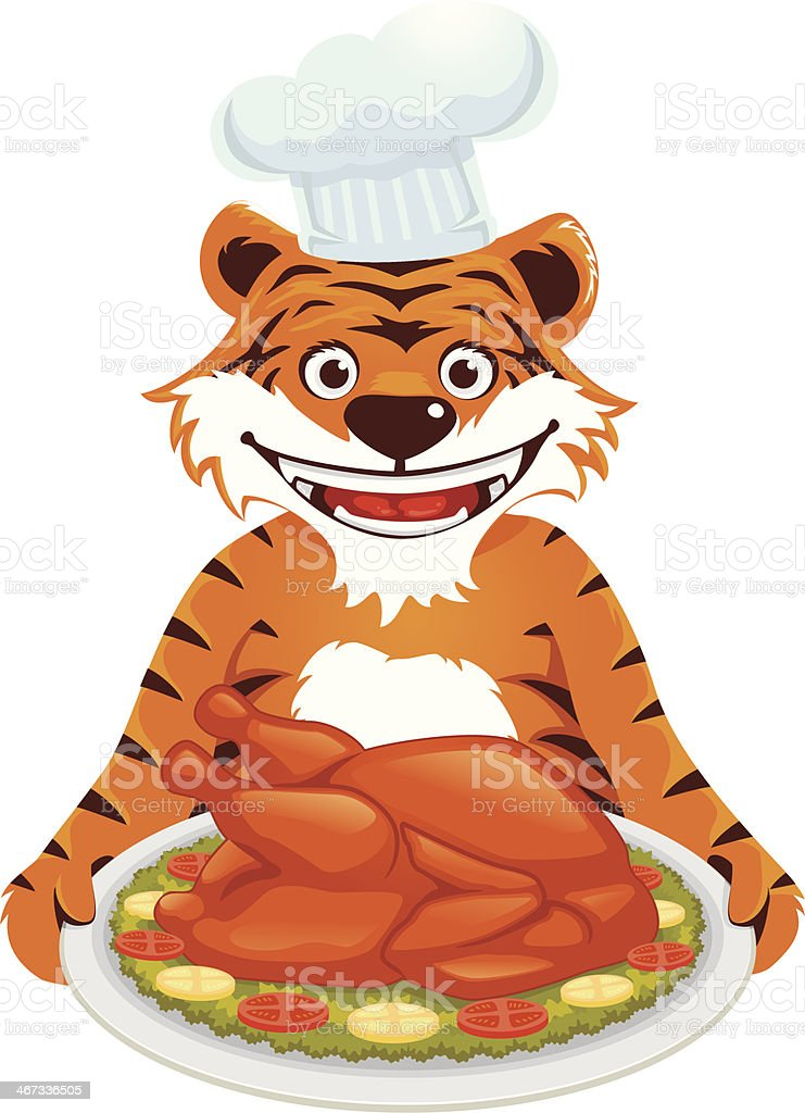 Tiger With Roasted Turkey royalty-free stock vector art
