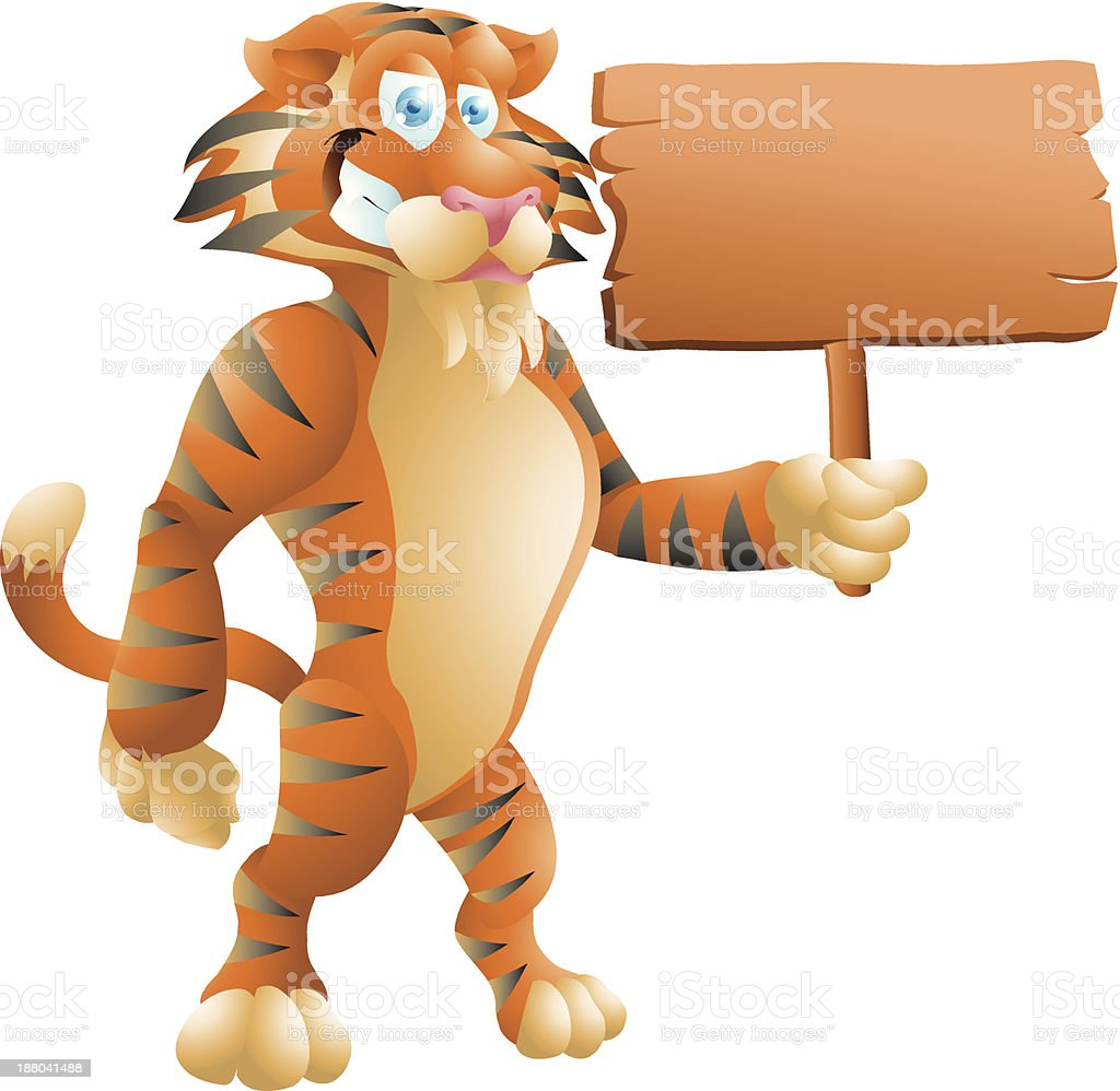 tiger with sign royalty-free stock vector art