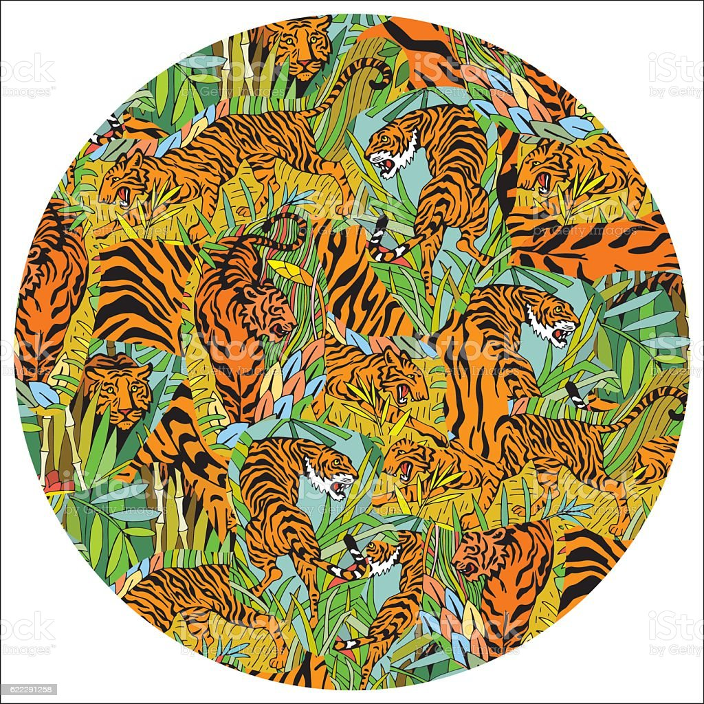 Tigers in the Jungle. Hand Drawn Tropical Pattern in circle. vector art illustration