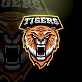 Mascot tiger logo for a sport team. Vector illustration.