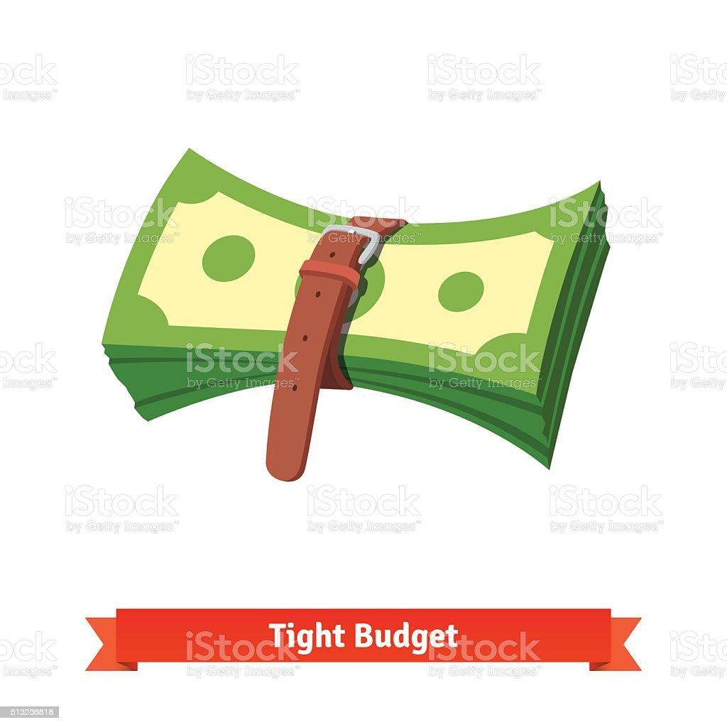 Tight budget and recession shrinking economy vector art illustration
