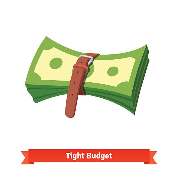 бюджет ограничен и сокращается экономического спада - dollar bill stock illustrations