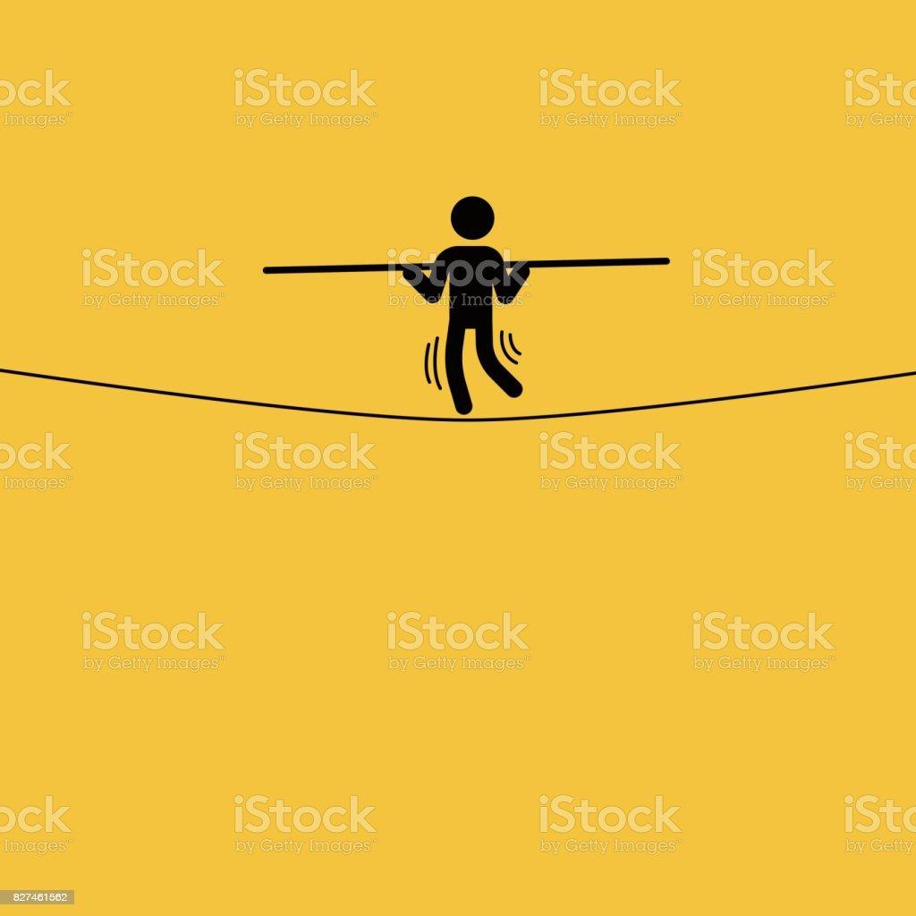 走鋼絲的商人向量藝術插圖