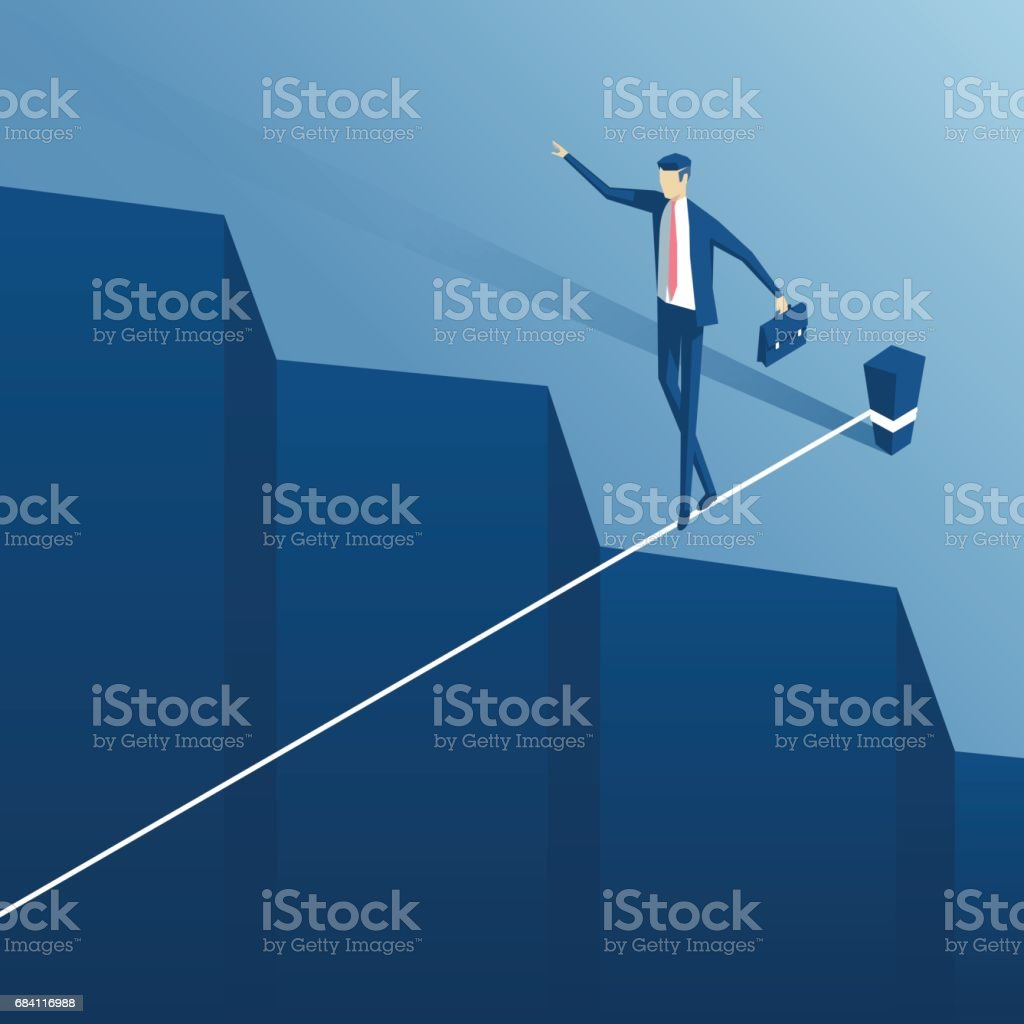 Tightrope walker over an abyss vector art illustration