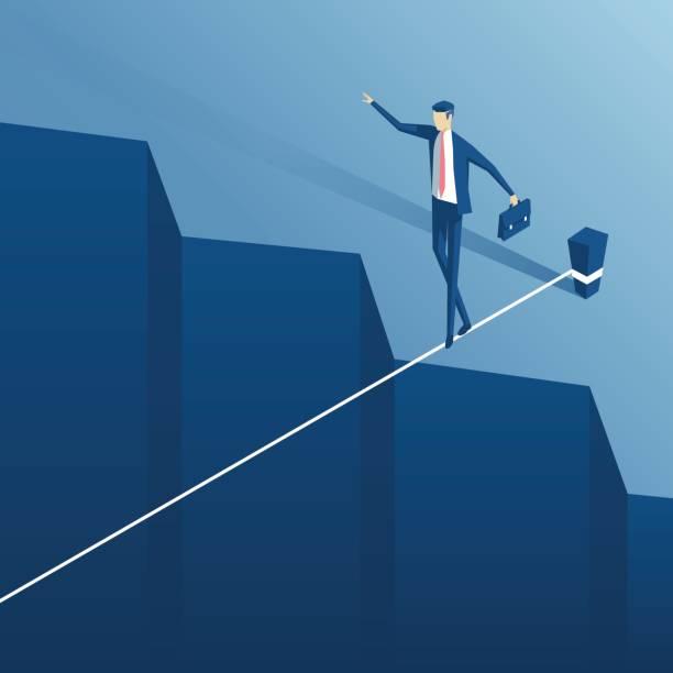 tightrope walker over an abyss - strickideen stock-grafiken, -clipart, -cartoons und -symbole