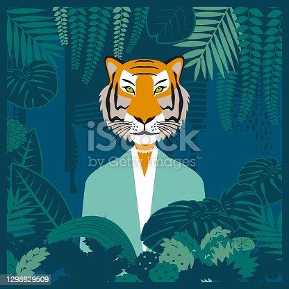 Tigress-headed business woman in the jungle