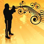 Stylized trumpet player.