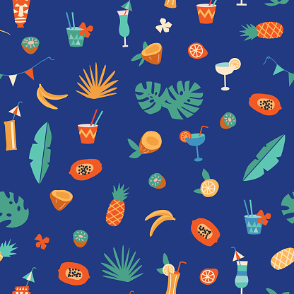 Tiki bar cocktail and fruits seamless pattern in vector.