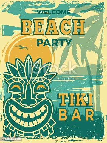 Tiki bar poster. Hawaii beach summer party invitation tiki tribal wooden masks vector retro placard. Illustration of tiki bar, beach party banner