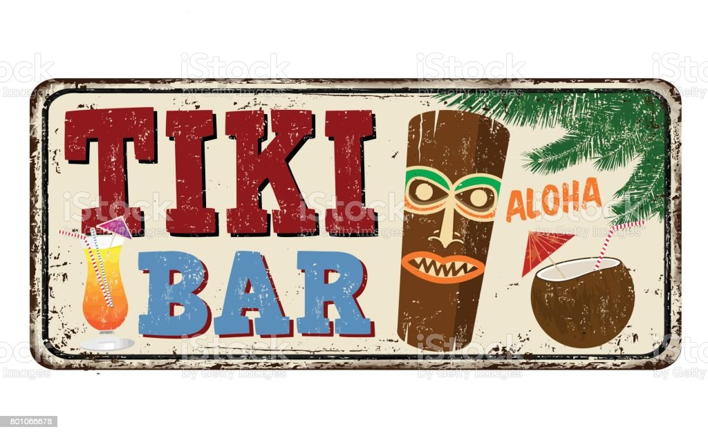 Tiki bar vintage rusty metal sign vector art illustration