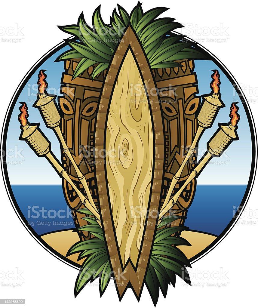 tiki beach vector art illustration