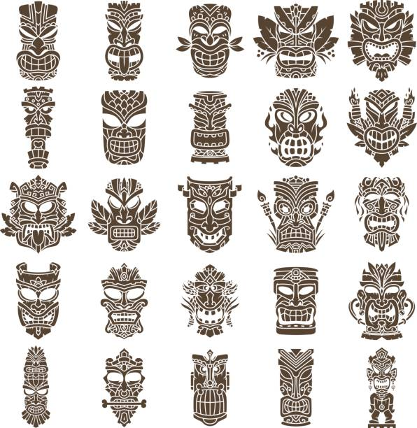 Tiki Head Design Set vector art illustration