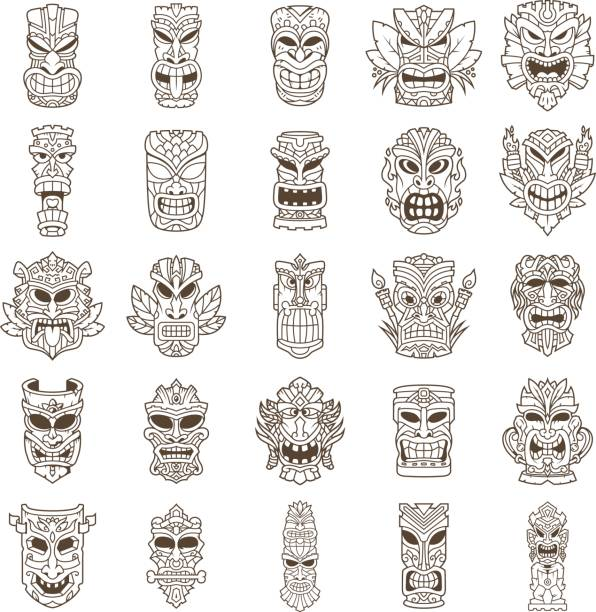 Tiki Head Line Art Set vector art illustration