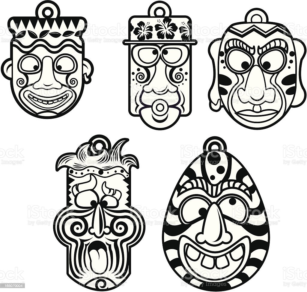 tiki head A tiki is a carved talisman, usually of a grotesque head, common to the Polynesian cultures of the Pacific Ocean. Animal Body Part stock vector
