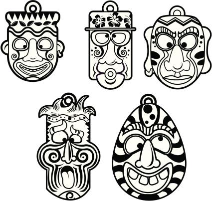 Tiki Head Stock Illustration - Download Image Now