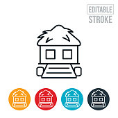 An icon of a tiki hut on the water. The icon includes editable strokes or outlines using the EPS vector file.