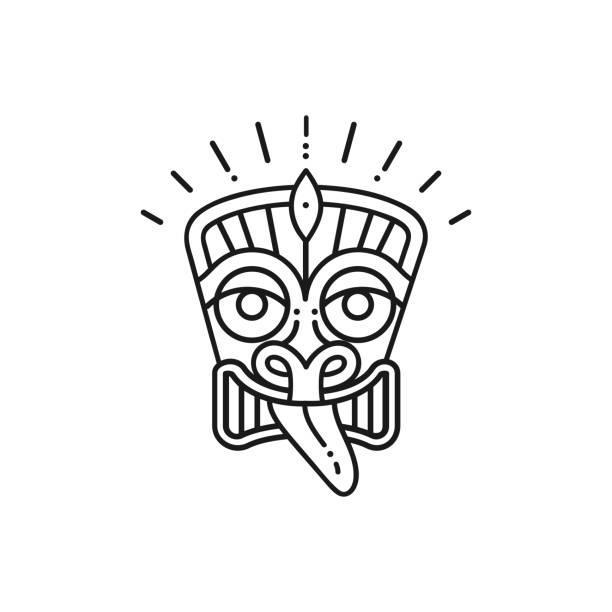 illustrazioni stock, clip art, cartoni animati e icone di tendenza di tiki icon tiki mask head. thin line art polynesian symbol - totem fair