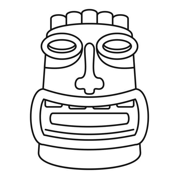 illustrazioni stock, clip art, cartoni animati e icone di tendenza di tiki idol mask icon, outline style - totem fair