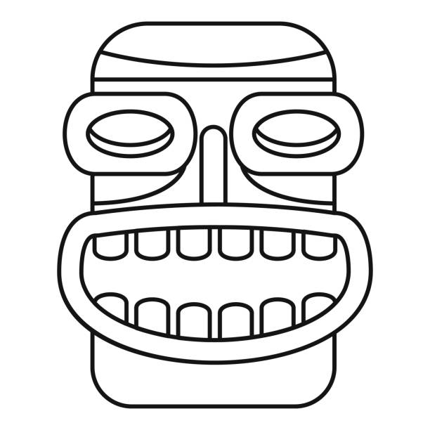 illustrazioni stock, clip art, cartoni animati e icone di tendenza di tiki idol smile icon, outline style - totem fair