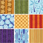 Nine seamless polynesian-inspired patterns, with tiki masks, hibiscus, bamboo, surfboards and more!