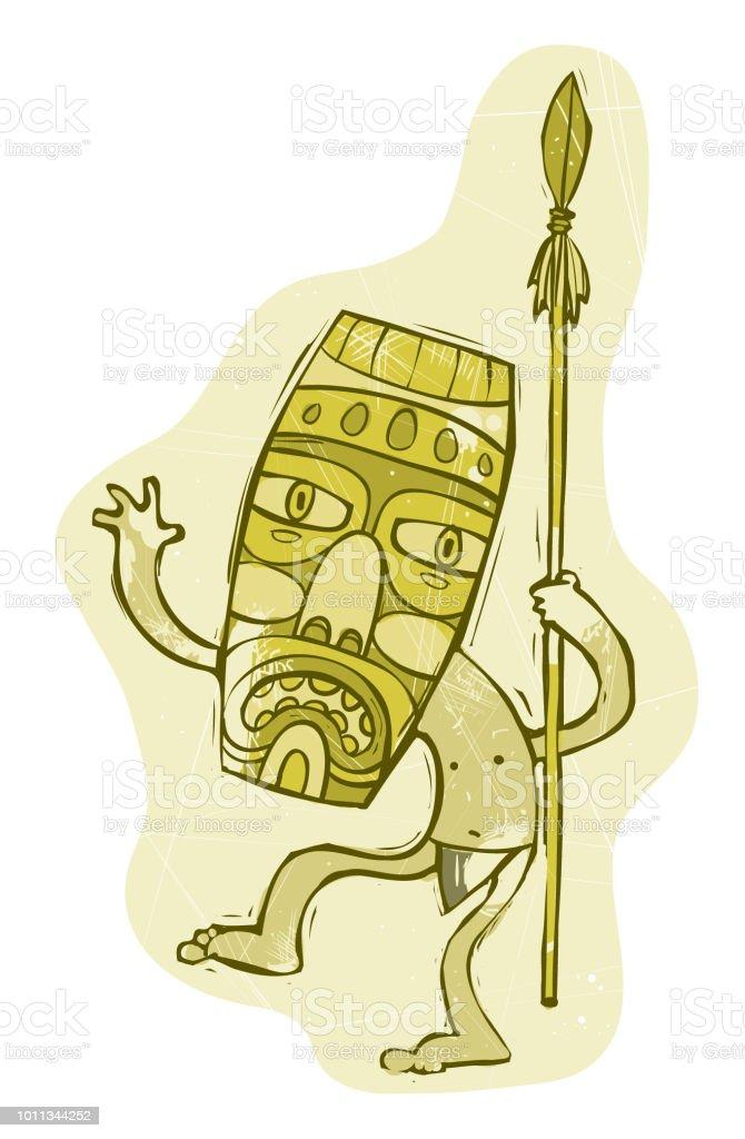 Tiki Man vector art illustration