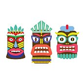 Tiki mask cartoon vector set