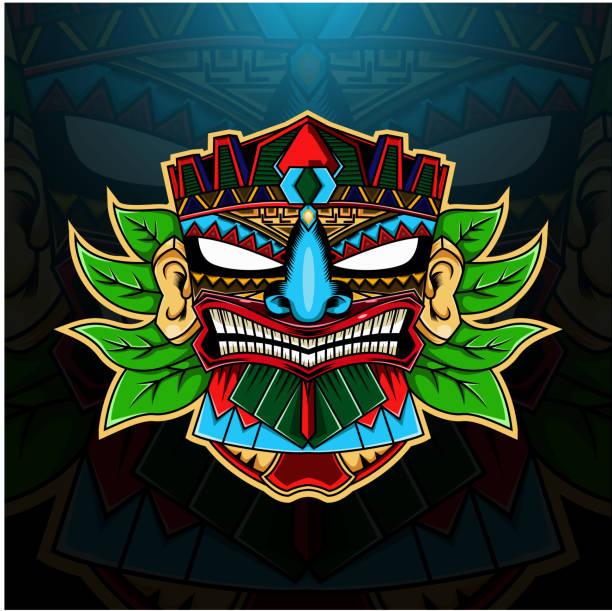 illustrazioni stock, clip art, cartoni animati e icone di tendenza di tiki maschera mascotte esport - totem fair