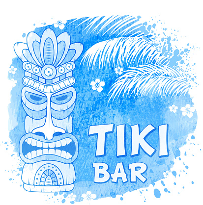 Tiki Mask On Watercolor Background