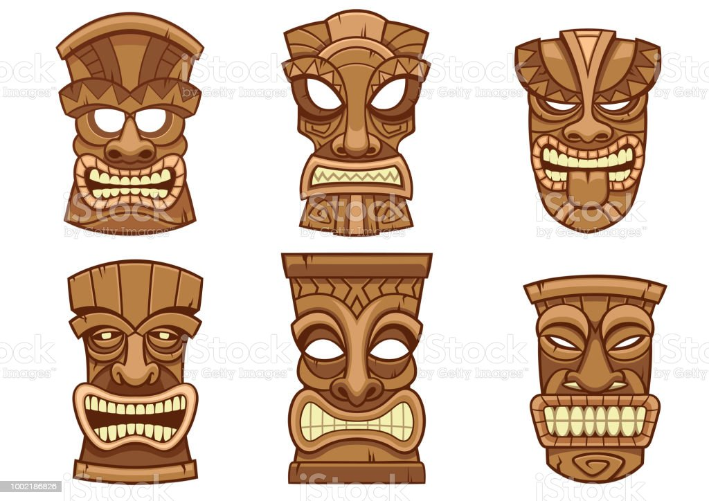 photo about Tiki Mask Printable called Tiki Mask Established Inventory Example - Down load Graphic By now - iStock
