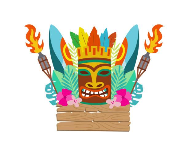 illustrazioni stock, clip art, cartoni animati e icone di tendenza di maschera tiki, tavola da surf e articoli per le vacanze hawaiane illustrazione vettoriale piatta isolata. - totem fair