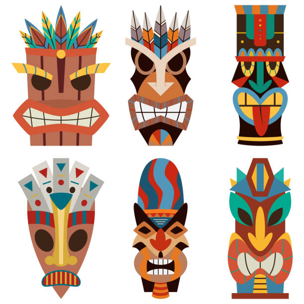 illustrazioni stock, clip art, cartoni animati e icone di tendenza di tiki mask vector set of cut wooden hawaiian and polynesian guise. sculpture flat icons isolated on white background. - totem fair