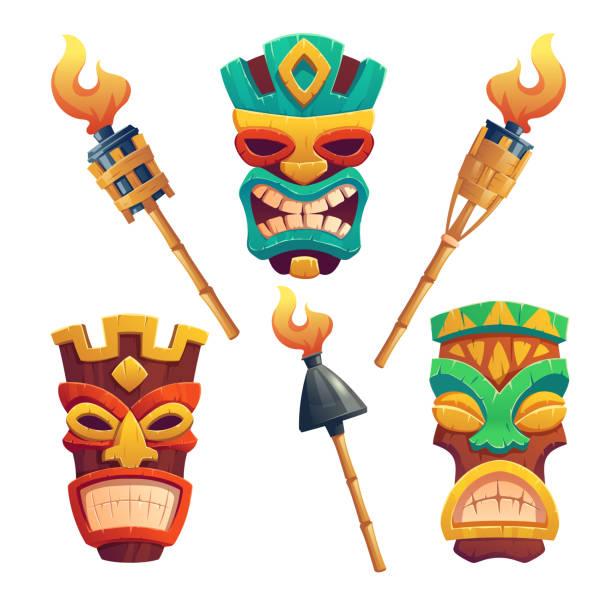 illustrazioni stock, clip art, cartoni animati e icone di tendenza di maschere tiki, totem tribale hawaiano e torce - totem fair