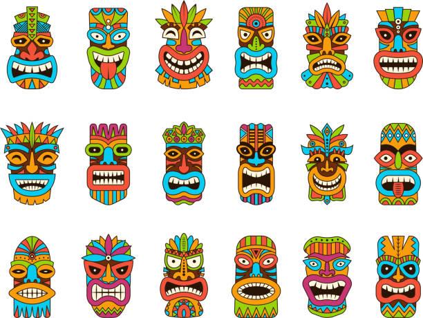 illustrazioni stock, clip art, cartoni animati e icone di tendenza di maschere tiki. tribal hawaii totem africano simboli di legno tradizionale vettoriale illustrazioni maschera colorata - totem fair