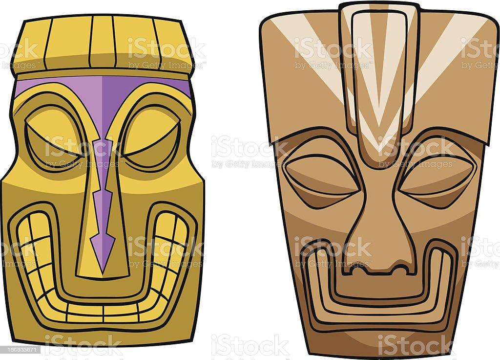 Tiki Masks Vector royalty-free stock vector art