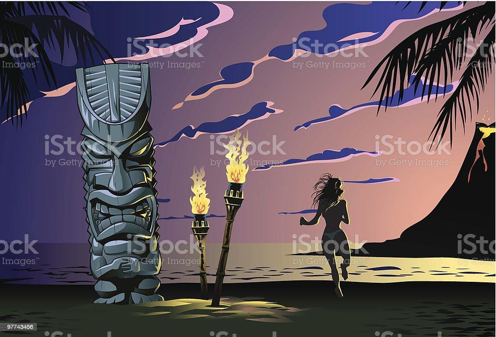 Tiki on the beach vector art illustration